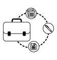 portfolio briefcase with documents and floppy vector image