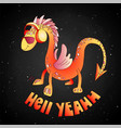 red cartoon cute dragon cartoon vector image vector image