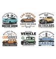 retro vehicles auto service vintage car repair vector image vector image