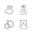 ring icon set outline style vector image vector image