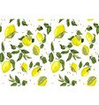seamless pattern with juicy lemon fruits and seed vector image vector image