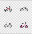 set of bicycle realistic symbols with triathlon vector image