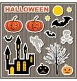 Set of stickers Halloween Lock bats pumpkin vector image vector image