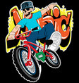 skull boy on a bicycle on a white background vector image vector image