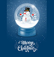snow globe with snowman vector image vector image