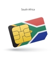 South Africa mobile phone sim card with flag vector image