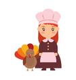 thanksgiving pilgrim design vector image vector image
