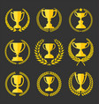 trophy and awards retro vintage collection 2 vector image vector image