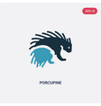 two color porcupine icon from animals concept vector image vector image