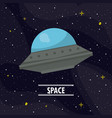ufo flying in the space vector image vector image