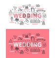 wedding ceremony line art poster of outline icons vector image