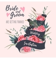 Wedding invitation with ribbon vector image vector image