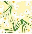 white crocus flower on beige ivory background vector image vector image