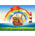 Wild animals riding on rowboat vector image vector image