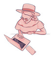 woman working on laptop with smartphone in hat and vector image