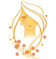 women autumn face vector image vector image