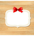Wood Wall With Red Bow vector image vector image