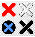 x-cross eps icon with contour version vector image