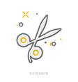 Thin line icons Scissors vector image