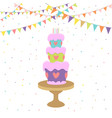 birthday card with cake vector image
