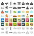 building set icons in cartoon style big vector image