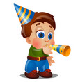 a little happy animated boy are blowing on festive vector image vector image