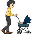 A man and baby pram vector image vector image