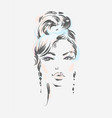 beautiful woman wearing earrings vector image