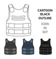 bulletproof vest icon in cartoon style isolated on vector image vector image