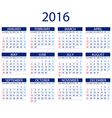 Calendar for 2016 on White Background Week Starts vector image vector image