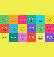 cartoon expression faces comic emoji emotions vector image