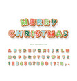 christmas gingerbread cookie font hand drawn vector image