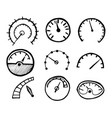 collection hand drawn speedometer icons vector image