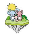 color family rabbit animal in the float island vector image vector image