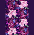 colorful blue and violet roses pattern vector image vector image