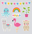 cute animal stickers set vector image vector image