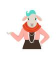 cute fashion sheep girl character hipster animal vector image vector image