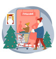 father and son shopping for christmas holidays vector image vector image