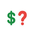 flat design concept of dollar with question mark vector image vector image
