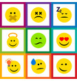 flat icon face set of frown love winking and vector image