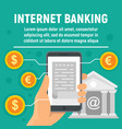 global internet banking concept banner flat style vector image vector image