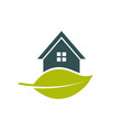 green house leaf logo vector image vector image
