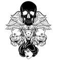 hand drawn surreal human skull woman face vector image vector image