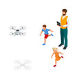 isometric father with children launches a drone vector image vector image