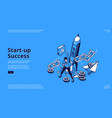 landing page startup success vector image