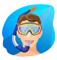 man in diving mask underwater person in vector image vector image