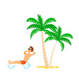 person lying on chaise lounge sunbathing vector image vector image