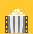 popcorn film strip line pop corn box cinema movie vector image vector image