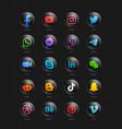 popular social media network modern 3d black vector image vector image