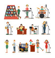radio people flat icon set vector image vector image